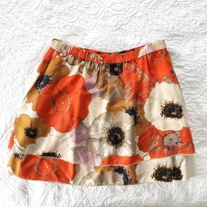 Odille Anthropologie Tiered Silk Floral Skirt s